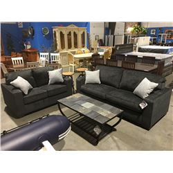 2 PCE CHARCOAL GREY UPHOLSTERED SOFA & LOVESEAT SET WITH 4 CUSHIONS