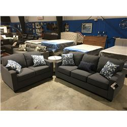2 PCE BLUEISH GREY UPHOLSTERED SOFA & LOVESEAT SET WITH 5 THROW CUSHIONS
