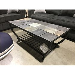 STONE TILE TOP ROLLING COFFEE TABLE