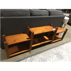 SOLID PINE LOW SHELVING UNIT