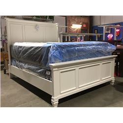 QUEEN SIZE WHITE PANEL BED (HEADBOARD, FOOTBOARD & RAILS)