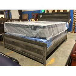 QUEEN SIZE GREY FINISH PANEL BED (HEADBOARD, FOOTBOARD & RAILS)