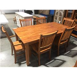 CONTEMPORARY MAHOGANY FINISH DINING TABLE WITH 6 CHAIRS