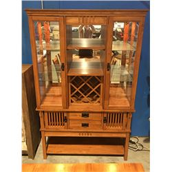 CONTEMPORARY MAHOGANY FINISH LIGHTED DISPLAY CABINET