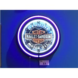 MOTOR HARLEY DAVIDSON CYCLES GENUINE MOTOR OIL NEON WALL CLOCK