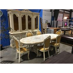 11 PCE ELEGANT DINING SUITE - TABLE W/2 LEAVES, 6 CHAIRS, BUFFET & HUTCH  - FEATURES GILDED TRIM