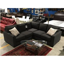 2 PCE CHARCOAL GREY UPHOLSTERED SECTIONAL SOFA WITH 2 THROW CUSHIONS