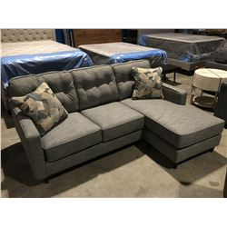 2 PCE GREY UPHOLSTERED SOFA CHAISE LOUNGER WITH 2 THROW CUSHIONS