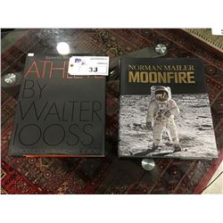 2 COFFEE TABLE BOOKS - NORMAN MAILER MOONFIRE & SPORTS ILLUSTRATED ATHLETE BY WALTER LOOSS