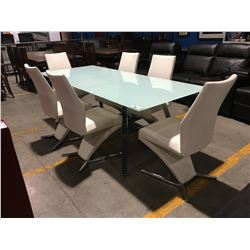 CONTEMPORARY WHITE & CHROME DINING TABLE SET - TABLE WITH POP-UP LEAF & 6 CHAIRS