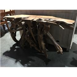"SOLID TEAK ROOT CONSOLE TABLE - 31"" HIGH X 60"" WIDE X 16"" DEEP"