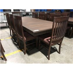 CONTEMPORARY DRIFT OAK DINING TABLE WITH 2 LEAVES & 8 CHAIRS