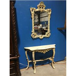 MARBLE TOP CARVED WOOD HALL TABLE WITH MATCHING MIRROR