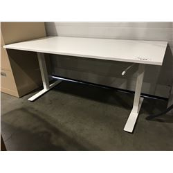 "SKARSTA STANDING DESK WITH MANUAL HEIGHT ADJUSTMENT (WHITE) DESKTOP 63"" X 31.5""/HEIGHT 28"" TO"