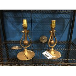 PAIR OF HEAVY BRASS HANGING WALL LAMPS - (NO SHADES)