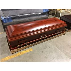 LUXES SOLID WOOD PLUSH LINED COFFIN - UMBER FINISH