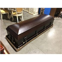 LUXES SOLID WOOD PLUSH LINED COFFIN - DARK FINISH