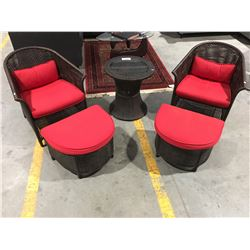 5 PCE PATIO LOUNGE CHAIR SET - 2 CHAIRS, 2 FOOT STOOLS & ROUND SIDE TABLE