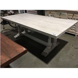 """SOLID TEAK WHITE WASH DINING TABLE - 30"""" HIGH X 84"""" LONG X 42"""" WIDE"""