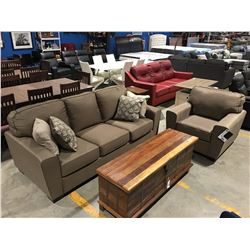 2 PCE BROWN UPHOLSTERED SOFA & CHAIR SET WITH 4 THROW CUSHIONS