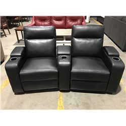 BLACK LEATHER POWER RECLINING 2-SEATER THEATRE SET