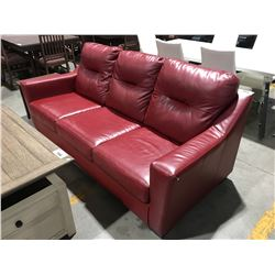 RED LEATHER 3-SEATER SOFA