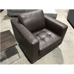 NATUZZI BROWN LEATHER ACCENT CHAIR