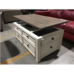 LIFT TOP COFFEE TABLE WITH 2 DRAWER STORAGE
