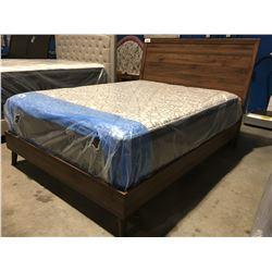 QUEEN SIZE RETRO INSPIRED PLATFORM BED (HEADBOARD, FOOTBOARD & RAILS)
