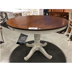ROUND SINGLE PEDESTAL DINING TABLE OF-WHITE & NATURAL