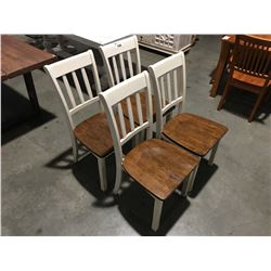 SET OF 4 OFF-WHITE & NATURAL DINING CHAIRS