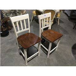 PAIR OFF-WHITE & NATURAL COUNTER HEIGHT CHAIRS