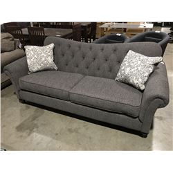 CONTEMPORARY GREY UPHOLSTERED LIVING ROOM SOFA WITH 2 THROW CUSHIONS
