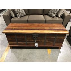 RECLAIMED WOOD BRASS FITTED STORAGE CHEST/BENCH