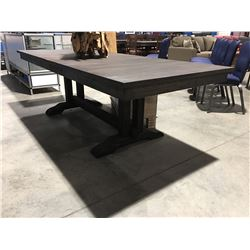 CONTEMPORARY DRIFT OAK DINING TABLE WITH 2 LEAVES (DARK FINISH)