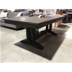 CONTEMPORARY DRIFT OAK DINING TABLE WITH 1 LEAF (DARK FINISH)