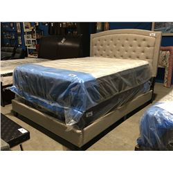 QUEEN SIZE LIGHT GREY UPHOLSTERED BED (HEADBOARD, FOOTBOARD & RAILS)