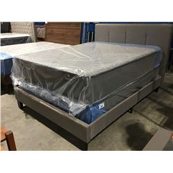 QUEEN SIZE GREY UPHOLSTERED BED (HEADBOARD, FOOTBOARD & RAILS)