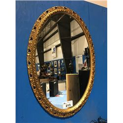 LARGE OVAL FRAMED DECORATIVE WALL MIRROR