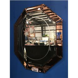 BEVELED GLASS WITH FLORAL ETCHING WALL MIRROR
