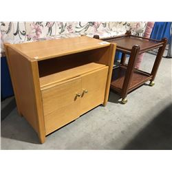 SMALL OAK TV STAND & ROLLING 2 TIER SIDE TABLE