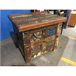 RECLAIMED WOOD CARVED FITTED STORAGE CHEST