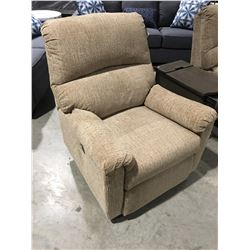 LIGHT BEIGE UPHOLSTERED POWER RECLINER