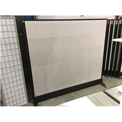 "1 FREE STANDING OFFICE DIVIDER PANEL GREY & BLACK - 73"" X 67"""