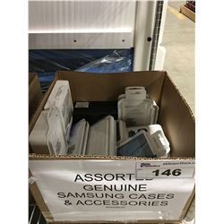 1 BOX  ASSORTED SAMSUNG CASES & ACCESSORIES