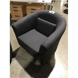GREY UPHOLSTERED TUB CHAIR