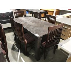 CONTEMPORARY DRIFT OAK DINING TABLE WITH 6 CHAIRS