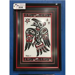 """FRAMED BC FIRST NATIONS SILK SCREEN PAINTING SIGNED BOTTOM LEFT CORNER BY ARTIST - 22"""" X 31"""""""