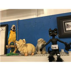TALKING PARROT, BLACK CAT, SHAGGY DOG & PIGGY BANK