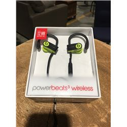 1 PAIR POWER BEATS 3 WIRELESS EARPHONES (BLACK & GREEN)